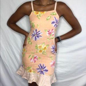 Cinnamon Girl Linen Ruffled Mini Dress flower S